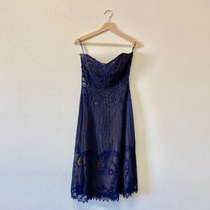 Vintage Betsey Johnson Navy Lace Sweetheart Dress